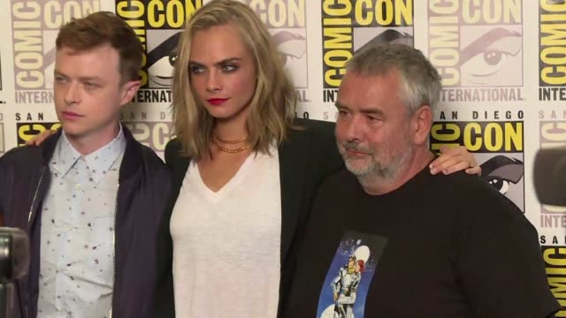 luc besson begins promoting his new film valerian and the city of a thousand planets at the comic con in san diego - epic film stock videos & royalty-free footage