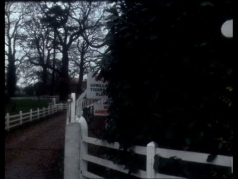 canterbury ms danger on fence cms zoo closed ls house through trees pan cameraman court - イングランド ケント点の映像素材/bロール
