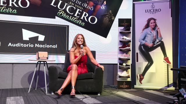 Lucero attends a press conference to promote her new album Brasileira En Vivo and her shoe line at Universal Music on April 30 2019 in Mexico City...