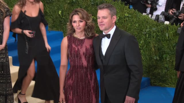 luciana damon and matt damon at rei kawakubo/comme des garcons art of the inbetween costume institute gala arrivals at the metropolitan museum of art... - matt damon stock videos and b-roll footage