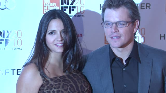 luciana damon and matt damon at the 'hereafter' 48th new york film festival closing night at new york ny - matt damon stock videos and b-roll footage