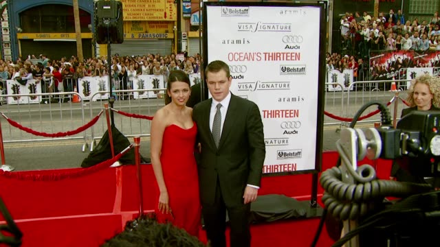 luciana damon and matt damon at the 'ocean's thirteen' north american premiere at grauman's chinese theatre in hollywood california on june 5 2007 - matt damon stock videos and b-roll footage