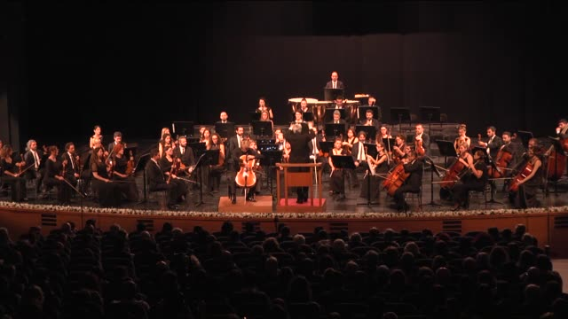 luciano di martino conducts the orchestra which includes cellist julian stecker during the bursa regional state symphony orchestra's concert within... - cellist stock videos & royalty-free footage