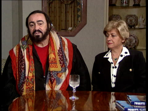 london luciano pavarotti intvwd sof i was born with a gift - luciano pavarotti stock videos & royalty-free footage