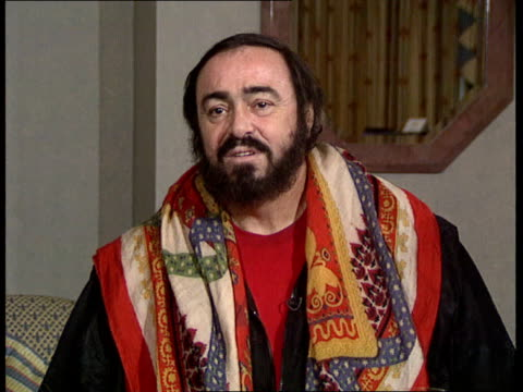 london pavarotti intvwd sof speaking about diet and losing weight - luciano pavarotti stock videos & royalty-free footage
