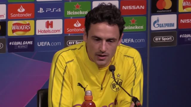 lucien favre and thomas delaney speak at borussia dortmund's press conference ahead of their champions league clash against tottenham at wembley - borussia dortmund stock videos and b-roll footage