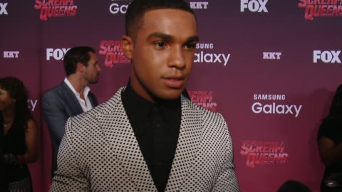 stockvideo's en b-roll-footage met lucien laviscount on the characters he'd like to see die and saved, on a favorite horror moment, on his character in the series, and on a dream guest... - wilshire ebell theatre