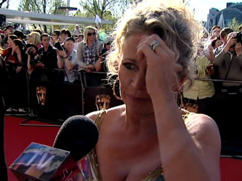 lucy benjamin on being at the awards to support june brown at the tv bafta awards at london . - 英国アカデミー賞テレビ部門点の映像素材/bロール