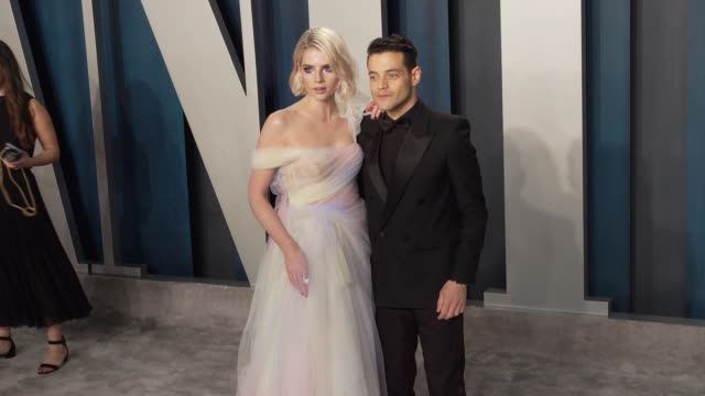 lucy boynton and rami malek at vanity fair oscar party at wallis annenberg center for the performing arts on february 9, 2020 in beverly hills,... - vanity fair stock videos & royalty-free footage