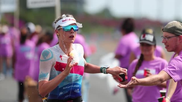 Lucy Charles of Great Britain cools down during the IRONMAN World Championship on October 14 2017 in Kailua Kona Hawaii