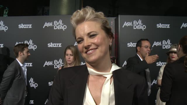 INTERVIEW Lucy Lawless on what it means to be at the theatre what the show is like and her character at the Ash Vs Evil Dead Los Angeles Premiere And...