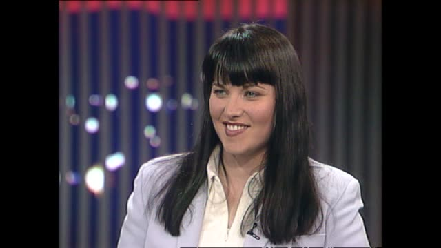 Lucy Lawless speaking about her fame during interview with host Susan Wood in 1997