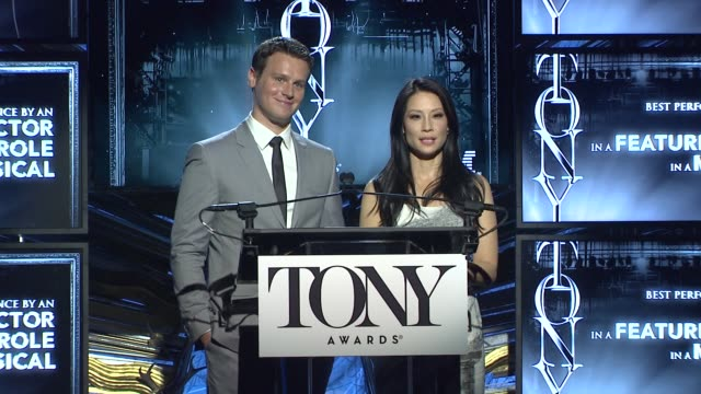 lucy liu and jonathan groff announce nominees for actor in a featured role in a musical at 2014 tony award nominations at paramount hotel on april... - lucy liu stock videos & royalty-free footage