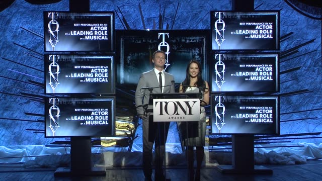 lucy liu and jonathan groff announce nominees for actor in a leading role in a musical at 2014 tony award nominations at paramount hotel on april 29,... - lucy liu stock videos & royalty-free footage