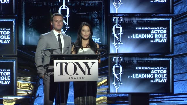 vídeos de stock e filmes b-roll de speech lucy liu and jonathan groff announce nominees for actor in leading role in a play at 2014 tony award nominations at paramount hotel on april... - ator