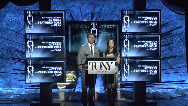 vídeos de stock e filmes b-roll de speech lucy liu and jonathan groff announce nominees for actress in a featured role in a play at 2014 tony award nominations at paramount hotel on... - ator