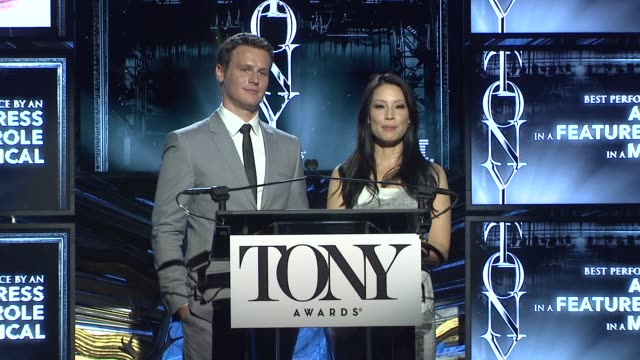 lucy liu and jonathan groff announce nominees for actress in a featured role in a musical at 2014 tony award nominations at paramount hotel on april... - 2014 stock-videos und b-roll-filmmaterial