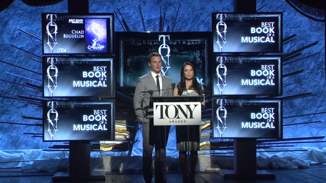 lucy liu and jonathan groff announce nominees for best book of a musical at 2014 tony award nominations at paramount hotel on april 29, 2014 in new... - 2014 stock-videos und b-roll-filmmaterial