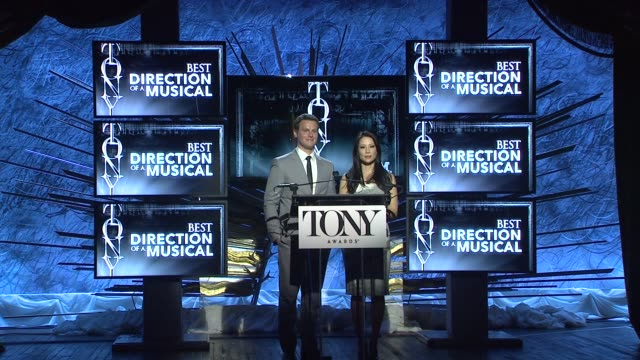 lucy liu and jonathan groff announce nominees for best direction of a musical at 2014 tony award nominations at paramount hotel on april 29, 2014 in... - lucy liu stock videos & royalty-free footage