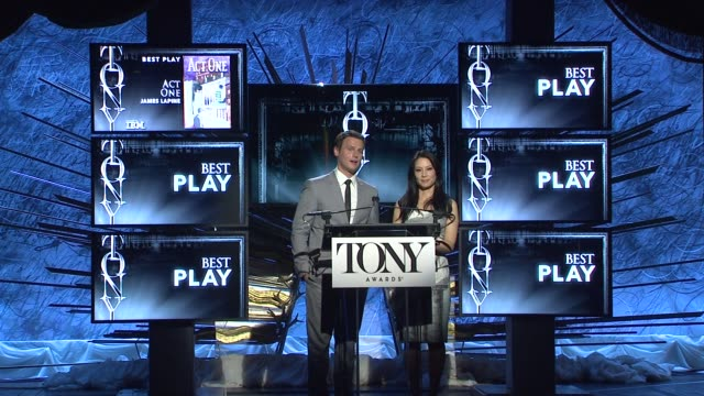 lucy liu and jonathan groff announce nominees for best play at 2014 tony award nominations at paramount hotel on april 29, 2014 in new york city. - lucy liu stock videos & royalty-free footage