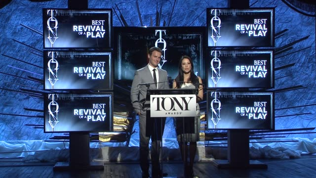 lucy liu and jonathan groff announce nominees for best revival of a play at 2014 tony award nominations at paramount hotel on april 29, 2014 in new... - revival stock videos & royalty-free footage