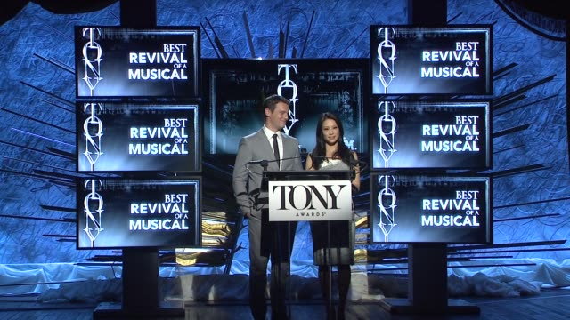lucy liu and jonathan groff announce nominees for best revival of a musical at 2014 tony award nominations at paramount hotel on april 29, 2014 in... - revival stock videos & royalty-free footage