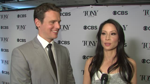 lucy liu and jonathan groff on how they had a blast backstage before they announced the nominations. the queen of the night is here so the set-up of... - lucy liu stock videos & royalty-free footage