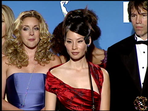 lucy liu at the 1999 emmy awards press room at the shrine auditorium in los angeles, california on september 12, 1999. - lucy liu stock videos & royalty-free footage