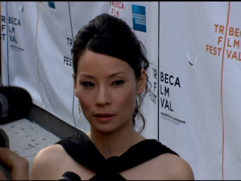 lucy liu at the 2006 tribeca film festival 'full grown men' and 'freedom's fury' at amc loews 11th st cinemas in new york new york on april 27 2006 - amc loews stock videos and b-roll footage