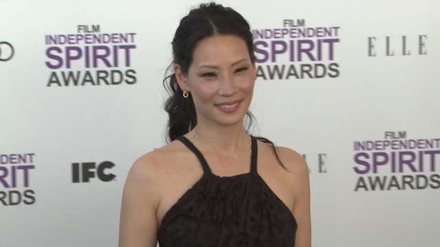 lucy liu at the 2012 film independent spirit awards - arrivals on 2/25/12 in santa monica, ca, united states. - lucy liu stock videos & royalty-free footage