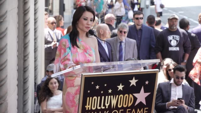 lucy liu on her career and those that helped her succeed at the lucy liu honored with a star on the hollywood walk of fame on may 01, 2019 in... - lucy liu stock videos & royalty-free footage