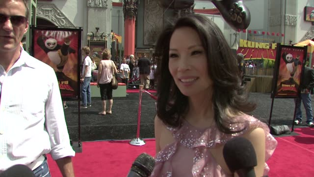 lucy liu on her character, how she prepared, why she wanted to be in the film at the 'kung fu panda' premiere @ chinese theater at hollywood... - lucy liu stock videos & royalty-free footage