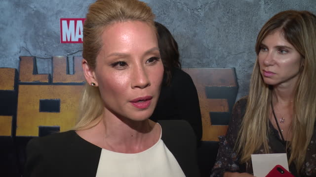 lucy liu on why it's important for us to watch a character like luke cage on screen right now, and what she hopes young people will be motivated by... - lucy liu stock videos & royalty-free footage