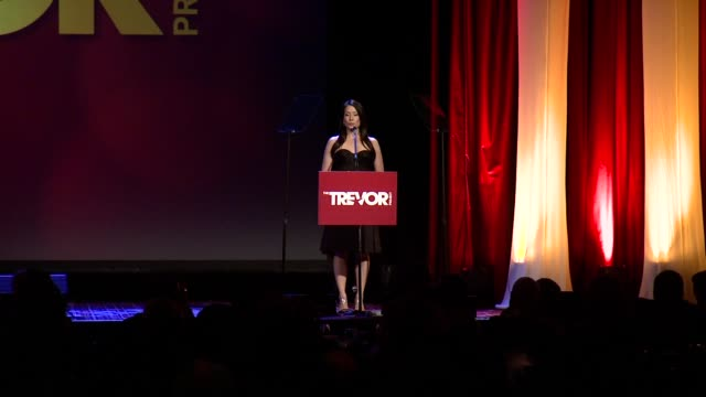 speech lucy liu speaks about the rate of suicide and how each of the people in crisis can reach out to more than 400 highly trained volunteers for... - the trevor project stock videos and b-roll footage