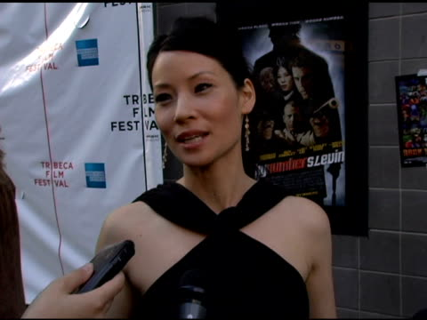 lucy liu talks about coming on board as an excutive producer of the movie 'freedom's fury getting involved with the movie and the subject matter of... - amc loews stock videos and b-roll footage