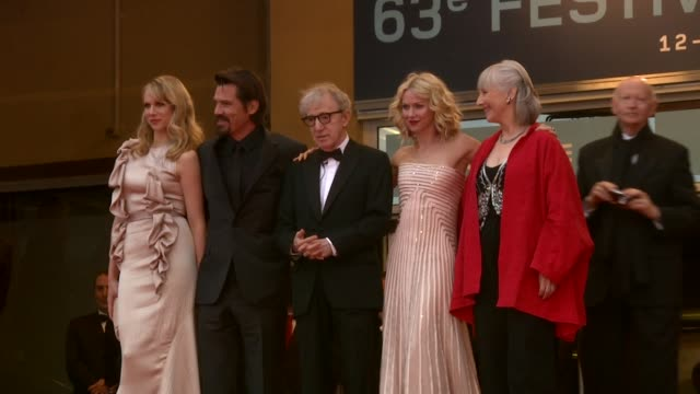 lucy punch, josh brolin, woody allen, naomi watts, and gemma jones at the you will meet a tall dark stranger premiere: cannes 2010 film festival at... - woody allen stock videos & royalty-free footage