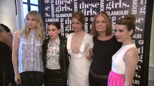 lucy punch zosia mamet dianna agron gloria steinem emma roberts at glamour presents these girls at joe's pub on may 20 2013 in new york new york - dianna agron stock videos and b-roll footage