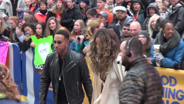 ludacris & ciara promoting the '2016 billboard music awards' finalist categories on the set of the 'good morning america' show in times square in... - finalist stock videos & royalty-free footage