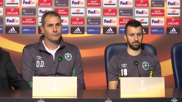 Ludogorets' head coach Dimitar Dimitrov and midfielder Svetoslav Dyakov attend a press conference on the eve of the UEFA Europa League Group C...