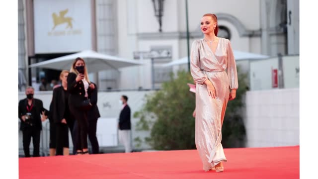 venice italy september 05 ludovica bizzaglia walks the red carpet ahead of the movie miss marx at the 77th venice film festival on september 05 2020... - gif stock videos & royalty-free footage