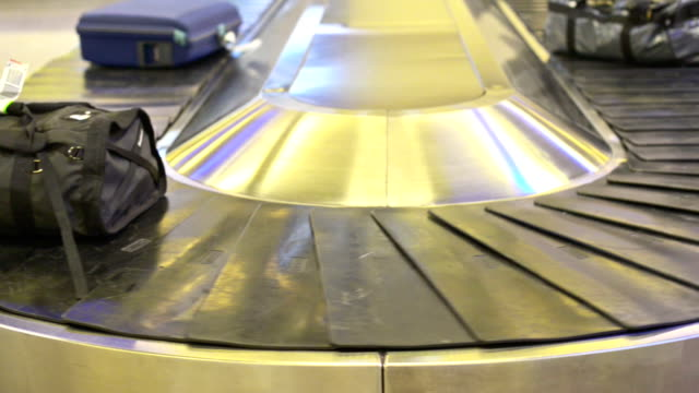Luggage on an airport carousel