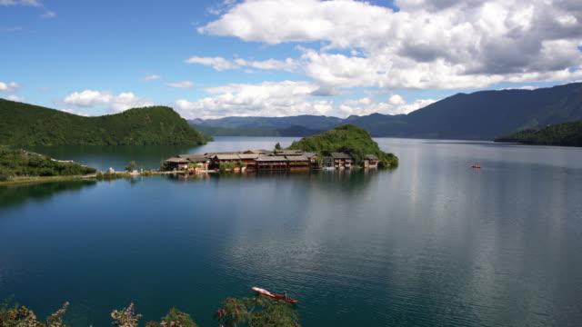 lugu lake scenery - yunnan province stock videos and b-roll footage