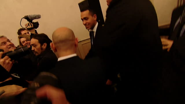Luigi Di Maio leader of the Five Star Movement walking to the stage after his party won almost a third of the vote in the Italian general election