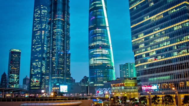 Lujiazui Financial District at dusk
