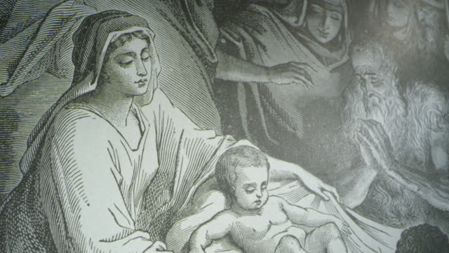 luke 2, classic mary & jesus christ birth manger etching, wide and tight shots - new testament stock videos & royalty-free footage