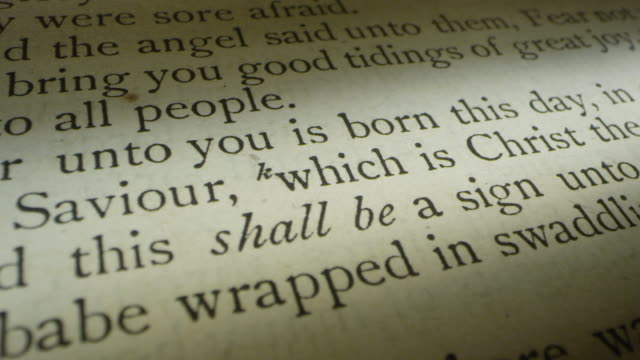 luke 2 scripture verse with 2nd shot of mary & jesus christ birth manger etching - new testament stock videos & royalty-free footage