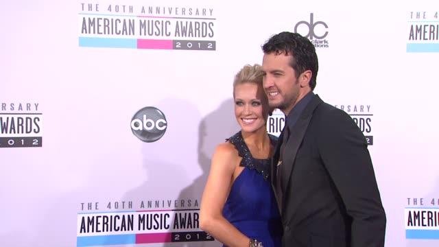 Luke Bryan Caroline Bryan at The 40th American Music Awards Arrivals on in Los Angeles CA
