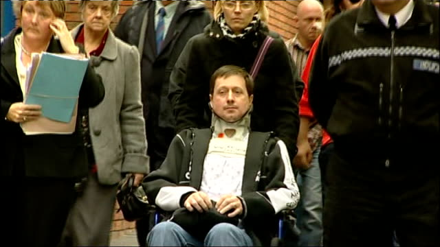 luke mccormick sentenced to seven years for death by dangerous driving ext peak family and friends departing court including phil peak in wheelchair... - luke mccormick stock videos and b-roll footage