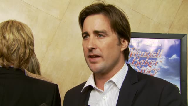 luke wilson on being writer, director, and star of the film and working with family at the 'the wendell baker story' premiere at writers guild of... - director's guild of america stock videos & royalty-free footage