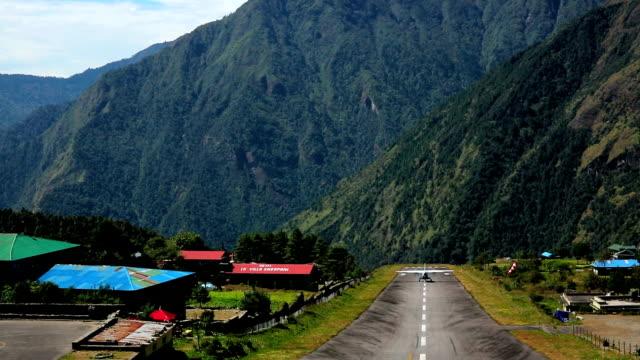 lukla airport take off - kathmandu stock videos & royalty-free footage